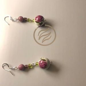 Silver plated pretty rose earrings made by me 😁